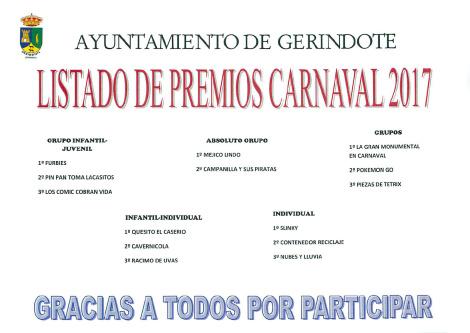 PREMIOS CARNAVAL 2017