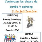 HORARIO DE LAS CLASES DE ZUMBA Y SPINNING