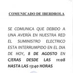 CORTE SUMINISTRO ELÉCTRICO HOY EN C/ERAS