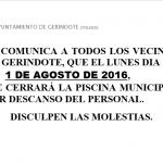 CIERRE DE LA PISCINA MUNICIPAL POR DESCANSO DEL PERSONAL