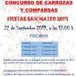 PREMIOS E INSCRIPCIÓN PARA EL CONCURSO DE CARROZAS Y COMPARSAS SAN MATEO 2019