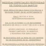 MEDIDAS ESPECIALES ENCEMENTERIO PARA LA FESTIVIDAD DE TODOS LOS SANTOS